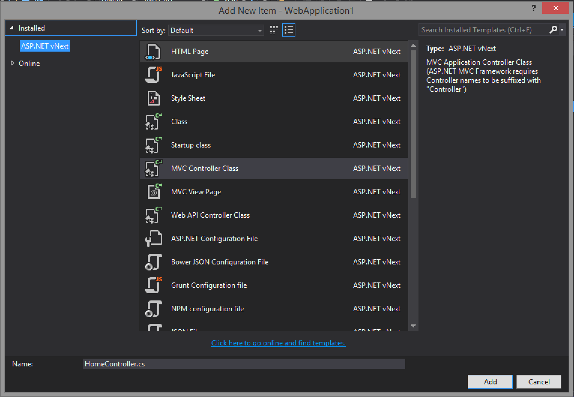 Visual Studio Add New Item