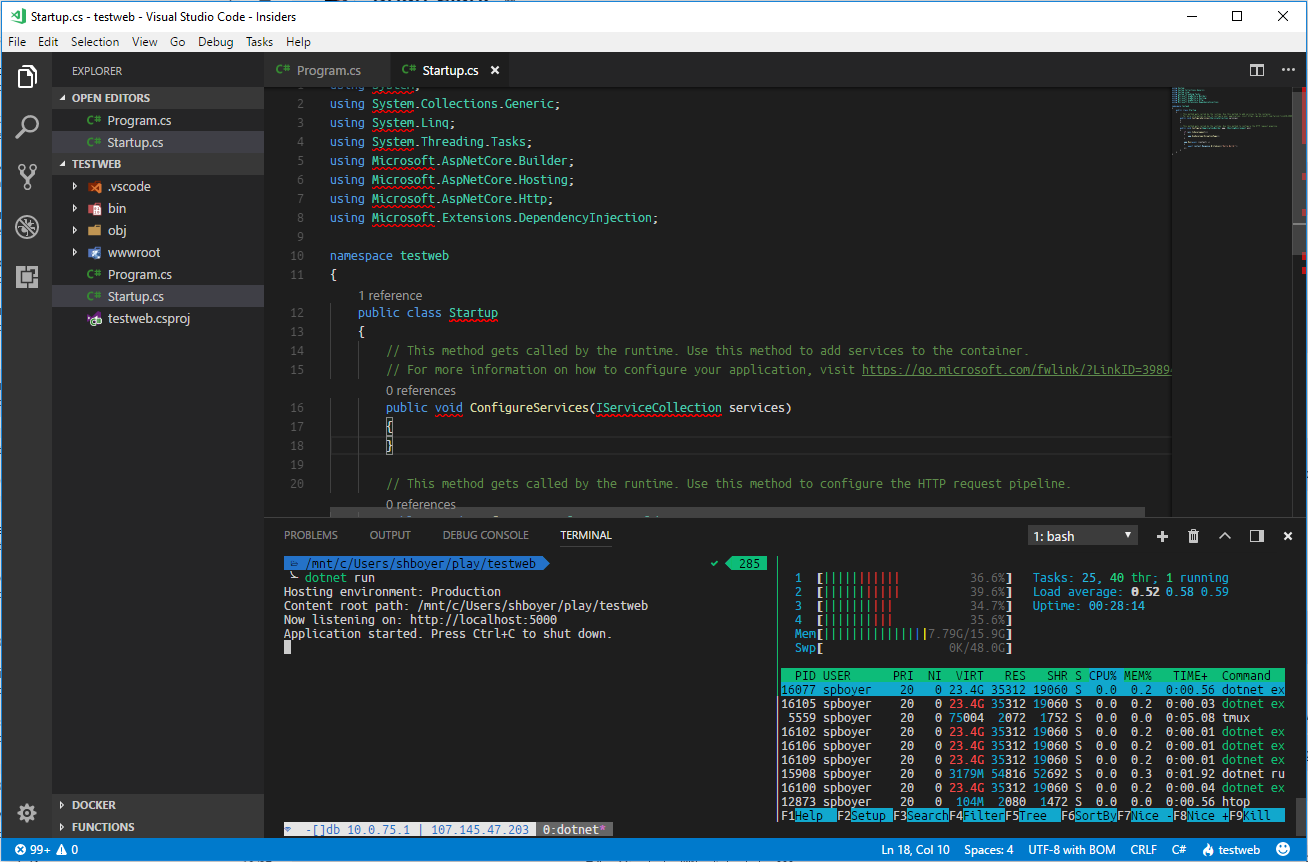 VS Code with tmux terminal
