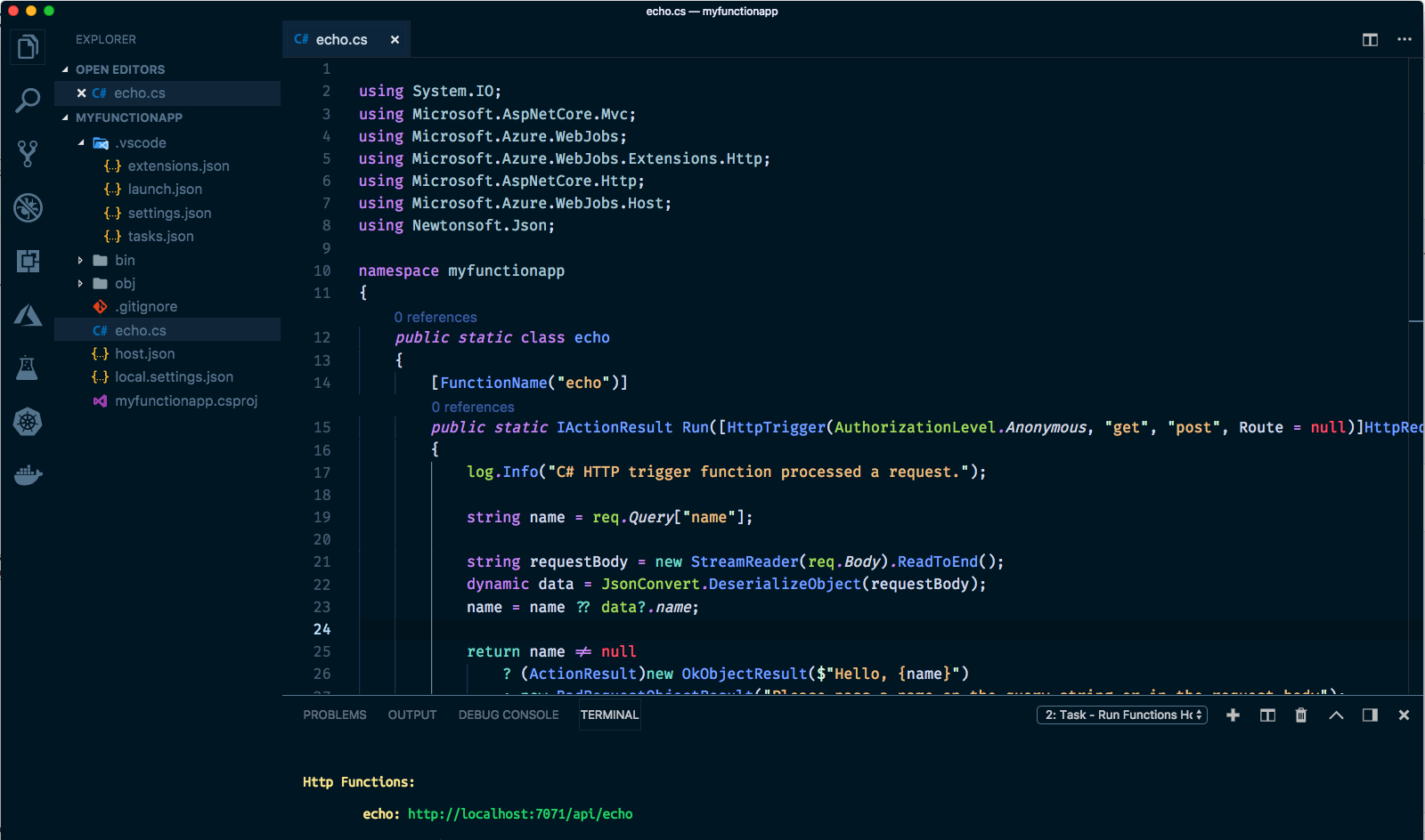 VS Code Screenshot of new function app
